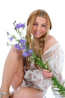 Free Woman With Flowers On White Stock Photography - 6132072