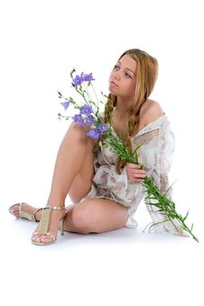 Free Woman With Flowers On White Royalty Free Stock Photo - 6132075