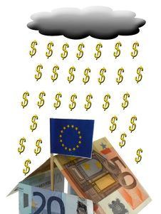 Free House From Euros With Flag Royalty Free Stock Image - 6132256