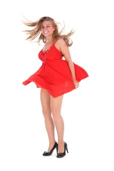 Free Portrait Of The Girl In A Red Dress Stock Photo - 6132570