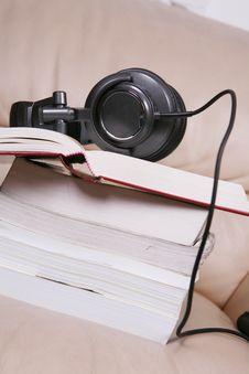 Headphone On The Books Stock Photo