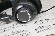 Free Score Sheet And Headphone Stock Photo - 6132700