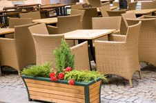 Restaurant Willow Chairs Tables Stock Images