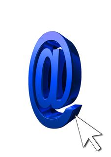 Free Blue At Symbol With Cursor Stock Photo - 6136740