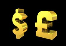 Golden Pound And Dollar Stock Images