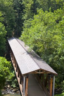 Free Old Covered Bridge In Trees Royalty Free Stock Image - 6136806
