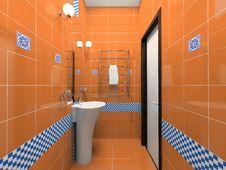 Free Interior Of The Orange Bathroom Stock Photos - 6137733