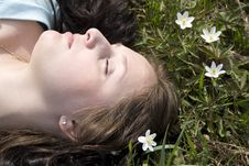 Free Woman Lying On Grass Stock Image - 6138121