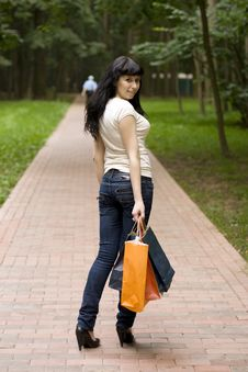 Free Brunet Girl With Shopping Bags Stock Photos - 6138183