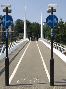 Cycle Lane On Bridge Royalty Free Stock Photography