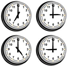 Free Clock Showing Different Times Stock Photography - 6139522