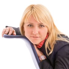 Portrait Of Attractive Businesswoman On Chair Royalty Free Stock Photos