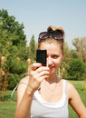 Free Girl With The Mobile Telephone Stock Photography - 6143012