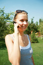 Free Girl With The Mobile Telephone Stock Image - 6143461