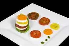 Free Caprese Salad Of Five Heirloom Tomatoes Royalty Free Stock Photos - 6140198