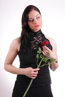 Free Woman With Rose Stock Images - 6141034