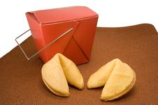 Fortune Cookies And Takeout Box Stock Photos