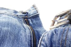 Free Jeans With Belt On White Royalty Free Stock Photos - 6141108