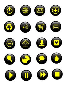 Glossy Set Of Vector Buttons Royalty Free Stock Images