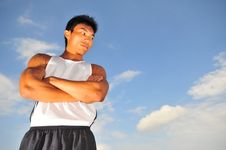 Free Asian Sportsman Thinking Hard Royalty Free Stock Photo - 6142495