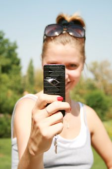 Free Girl With The Mobile Telephone Stock Photo - 6142700