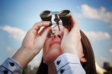 Free Girl With Binocular Stock Photography - 6146632