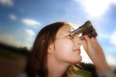 Free Girl With Binocular Stock Images - 6146884