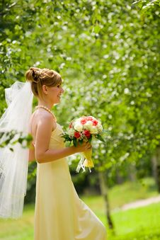 Free Young Beautiful Bride With Flowers Outdoor Stock Image - 6147561
