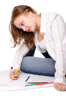 Beautiful Girl Is Drawing With Crayons. 6 Stock Photo