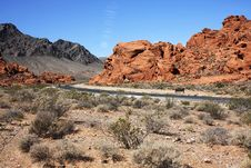 Road Through Valley Of Fire, Nevada Stock Photo