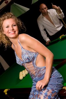 Free Model Sitting On Green Snooker Table Stock Photo - 6148260
