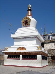 Buddhist Stupa In Manang Royalty Free Stock Photo