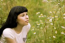 Free Girl Relaxing On A Meadow Stock Images - 6152104