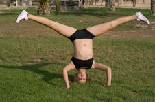 Free Young Girl Exercising In The Park Stock Image - 6152581