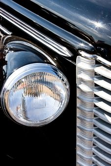 Lattice Of A Radiator And Headlights Of The Ancien