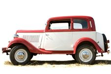 Free The Ancient Car Of White And Red Color Royalty Free Stock Image - 6154156