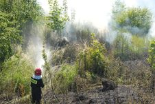 Free Fireman Fighting A Heath Fire Stock Images - 6154634