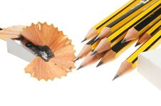 Free Group Of Pencils And Sharpener Stock Photos - 6156873