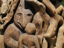 Wooden Wolf Carving Royalty Free Stock Images