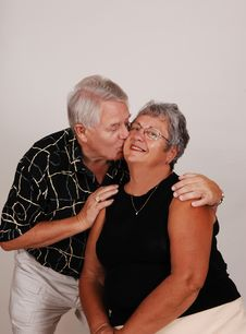 Free Senior Couple Kissing. Stock Photo - 6157880
