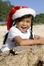 Free Thai Girl With Christmas Hat On Beach Royalty Free Stock Photo - 6162265