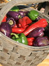 Free Fresh Peppers In A Basket Royalty Free Stock Photography - 6166137