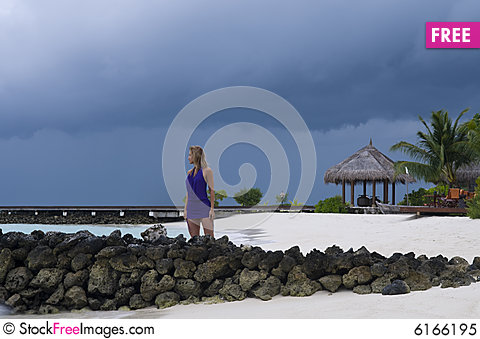 Free Sexy Woman Watching Indian Ocean Royalty Free Stock Photo - 6166195