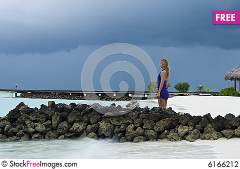 Free Sexy Woman Watching Indian Ocean Stock Photography - 6166212