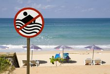 Free No Swimming Sign On Beach Stock Photography - 6161772