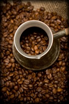 Free Cezve On Roasted Coffee Beans Stock Photography - 6163572