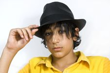 Boy With Black Hat Stock Photography