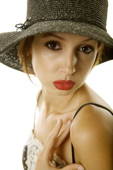 Pretty Woman In Hat Royalty Free Stock Photography