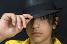 Free Boy With Black Hat Stock Photos - 6163943