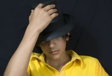Boy With Black Hat Royalty Free Stock Photography